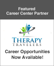 Featured speech pathology career center partner TherapyTravelers company logo advertising career opportunities